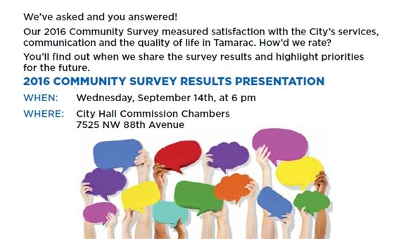 Join us for a presentation of the 2016 Community Survey results on Wednesday, September 14th in the City Hall Commission Chambers at 6 pm.
