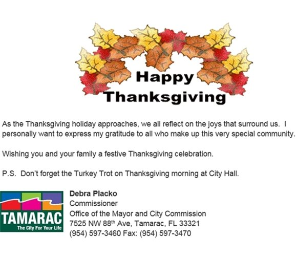 Happy Thanksgiving from Commissioner Placko