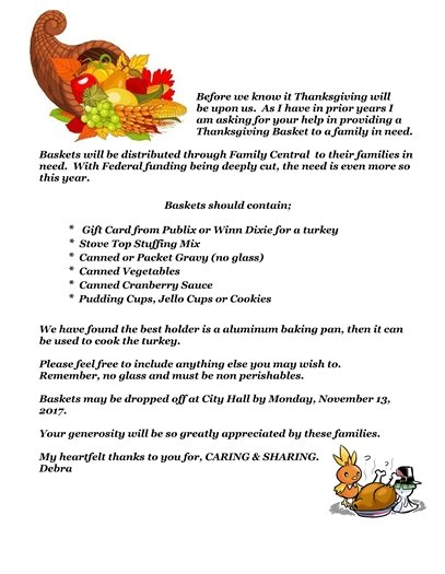 Flyer about Thanksgiving Day baskets