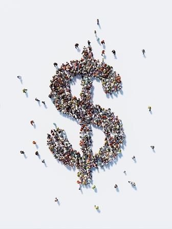 Dollar sign made of people