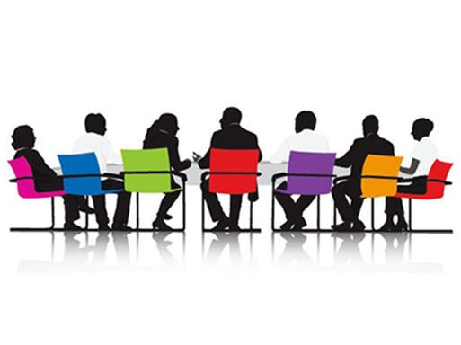 Illustration of people sitting at a meeting in colorful chairs