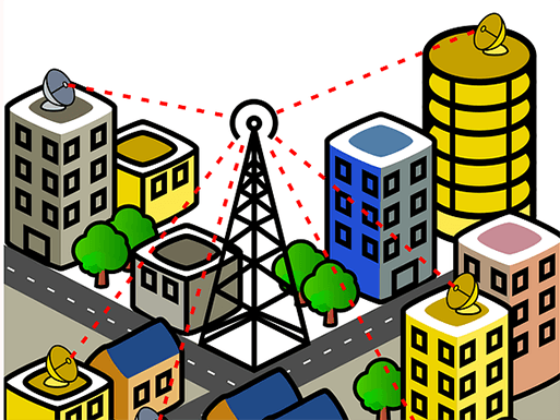 City radio tower illustration