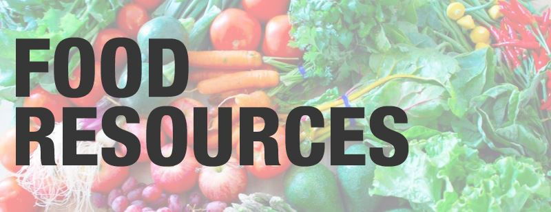 Image that says Food Resources with vegetables in background
