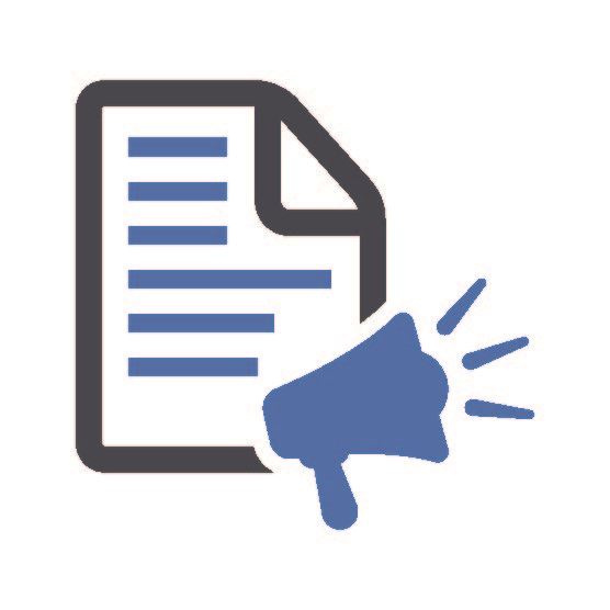 Icon image of a document with words on it and a megaphone Opens in new window
