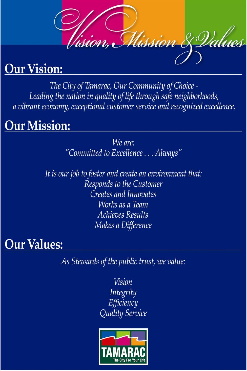 Tamarac Fl Official Website Vision Mission Amp Values